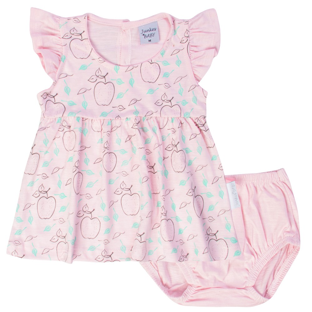Vestido com Tapa Fralda Maças Junkes Baby