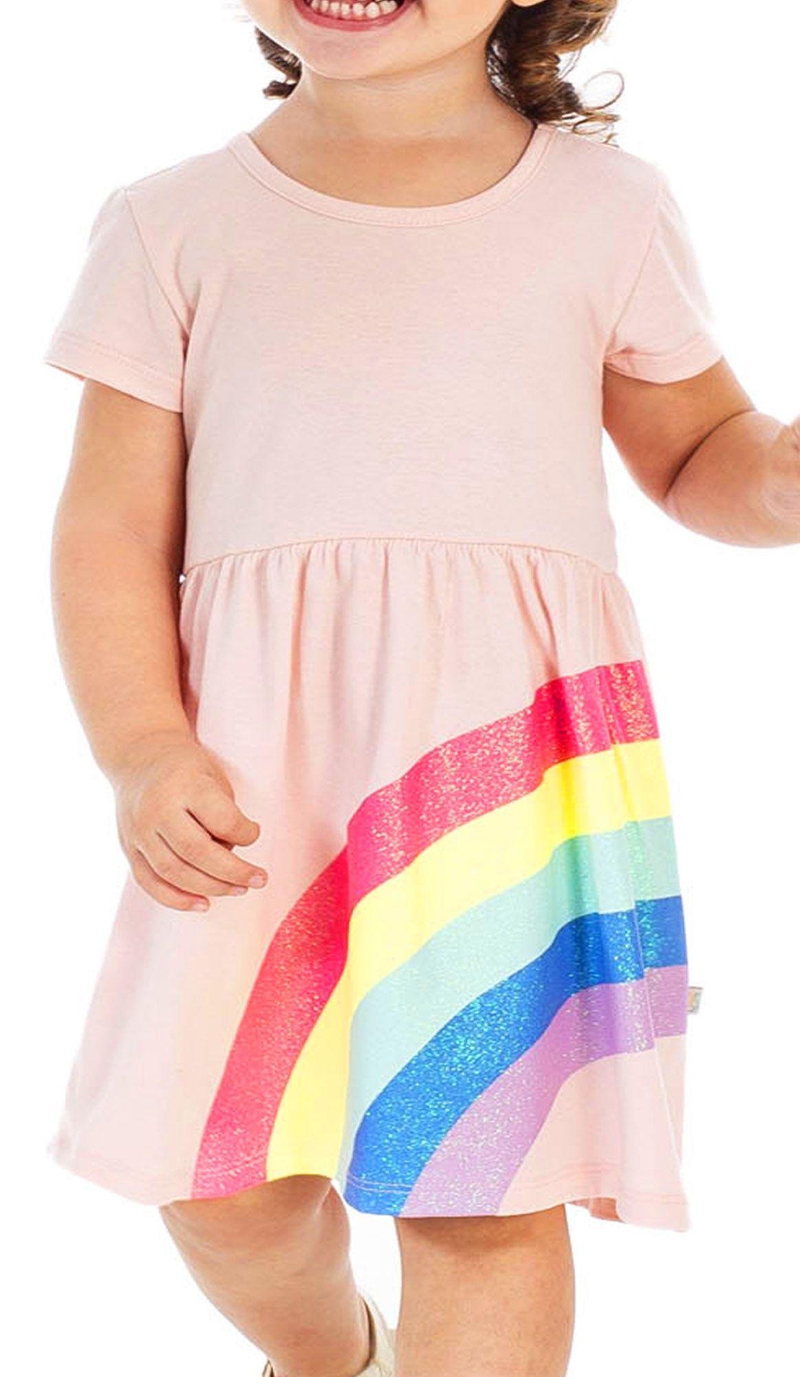 Vestido Infantil Arco Íris Rosa