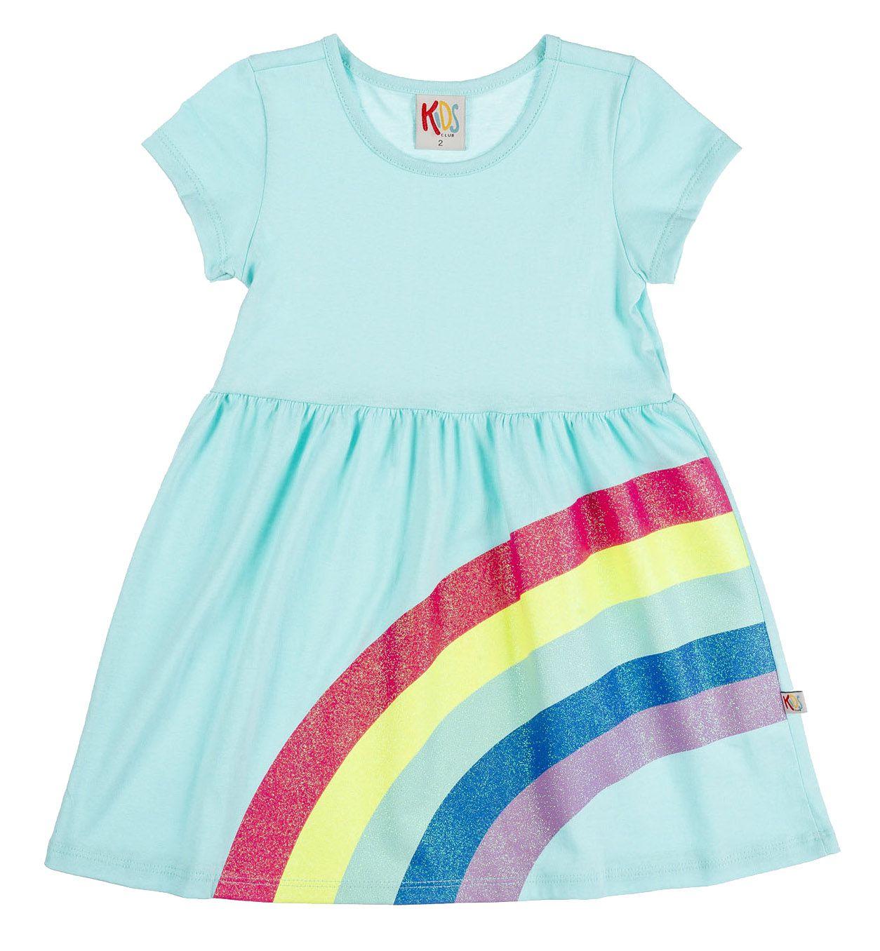 Vestido Infantil Arco Íris Verde