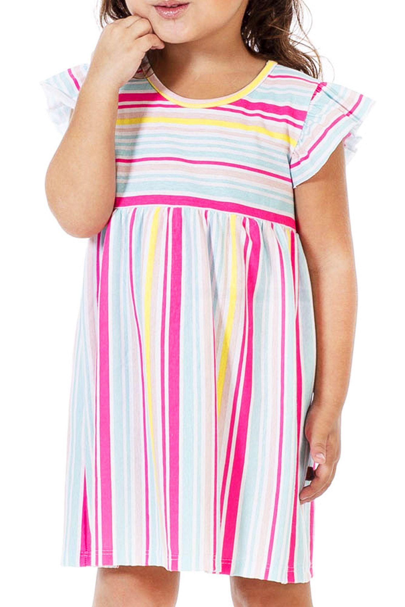Vestido Infantil Listrado Neon