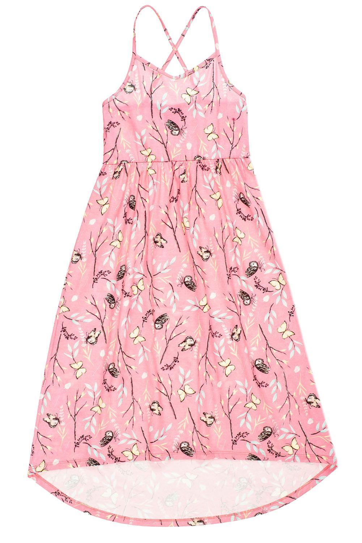 Vestido Infantl Longo Rosa Floral