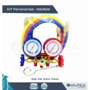 Kit Ferramentas - Manifold de Baixa e Alta paraRefrigeraçao E Ar Condicionado - R12/R22/R134a/R400A