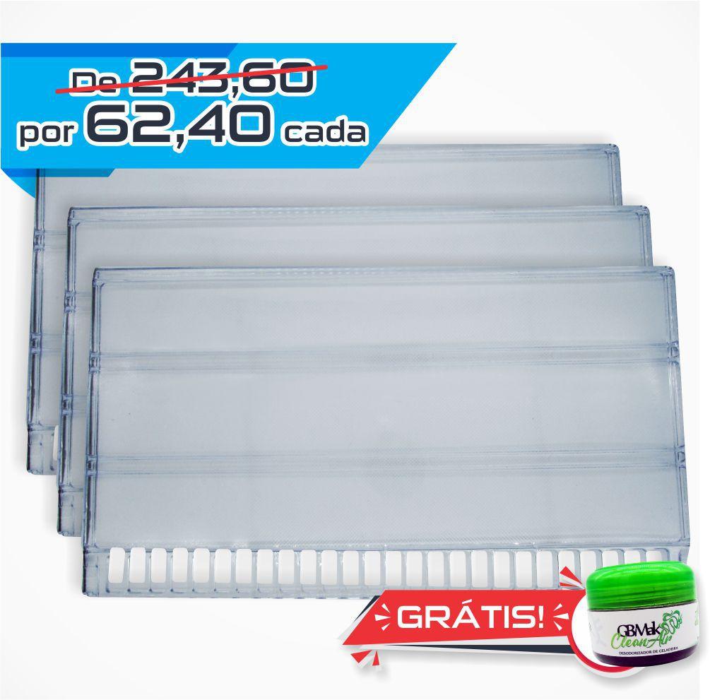 Jogo de 03 Prateleira Acrílica Original para Refrigerador Continental / Bosch / Mabe / GE - 715537A - 60 x 34 cm