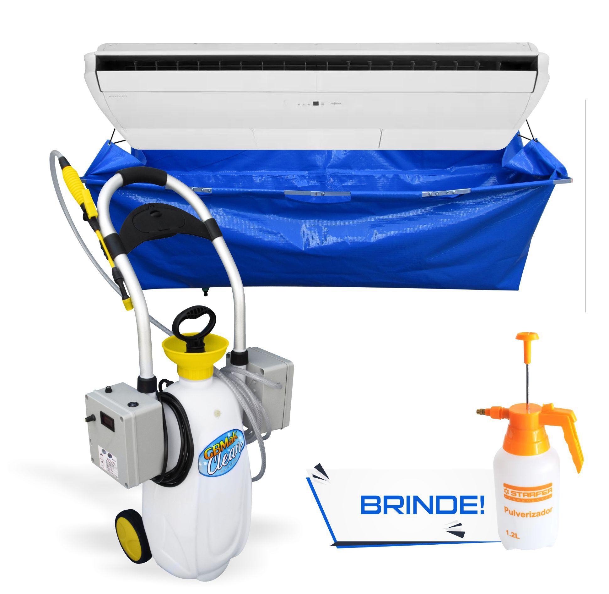 Kit para Limpeza de Ar Condicionado Piso Teto - Maquina Automática GBMak Clean 16 Litros / Pulverizador Manual / Coletor de Resíduos Piso Teto