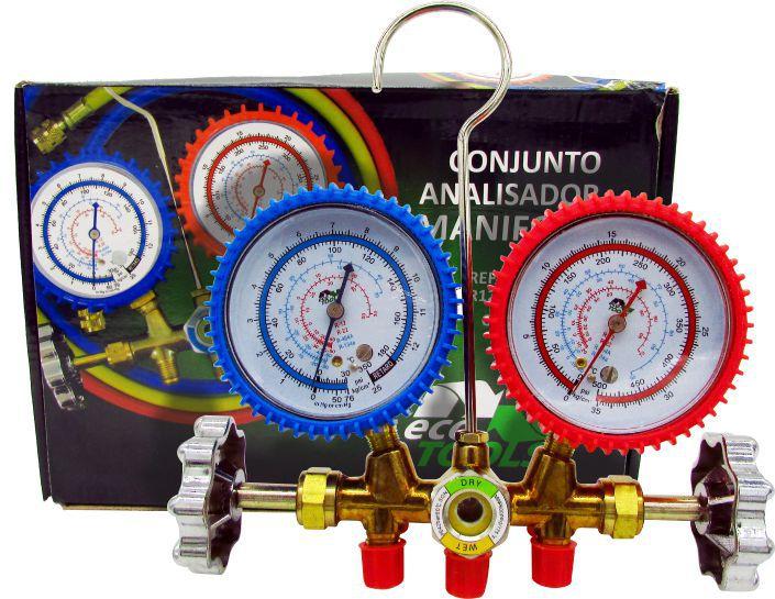 """Manifold Analógico Ecotools ET636 R12 R22 R404A R134a Com 3 Mangueiras 1/4"""" x 90cm"""