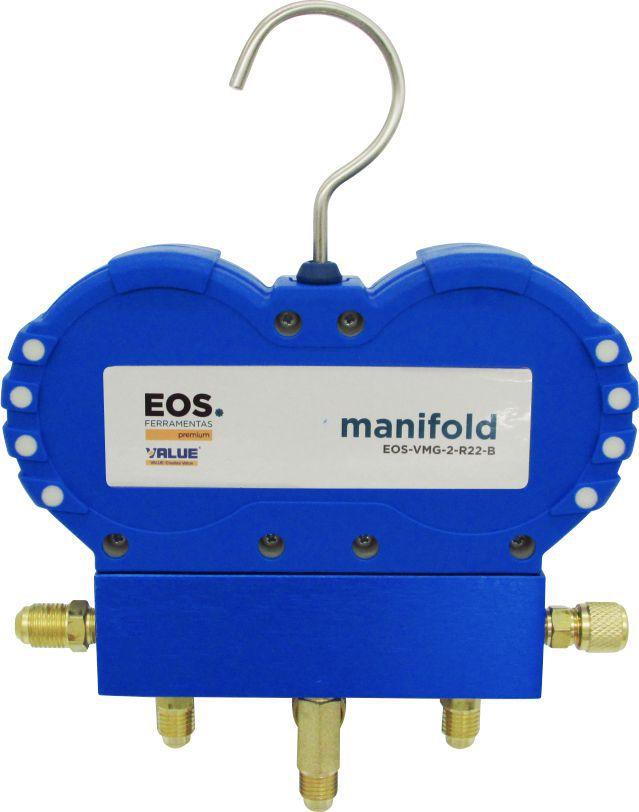 """Manifold Analógico EOS Value VMG-2-R22-02 _ R22 R134a R404A R407C com Mangueiras 1/4"""""""