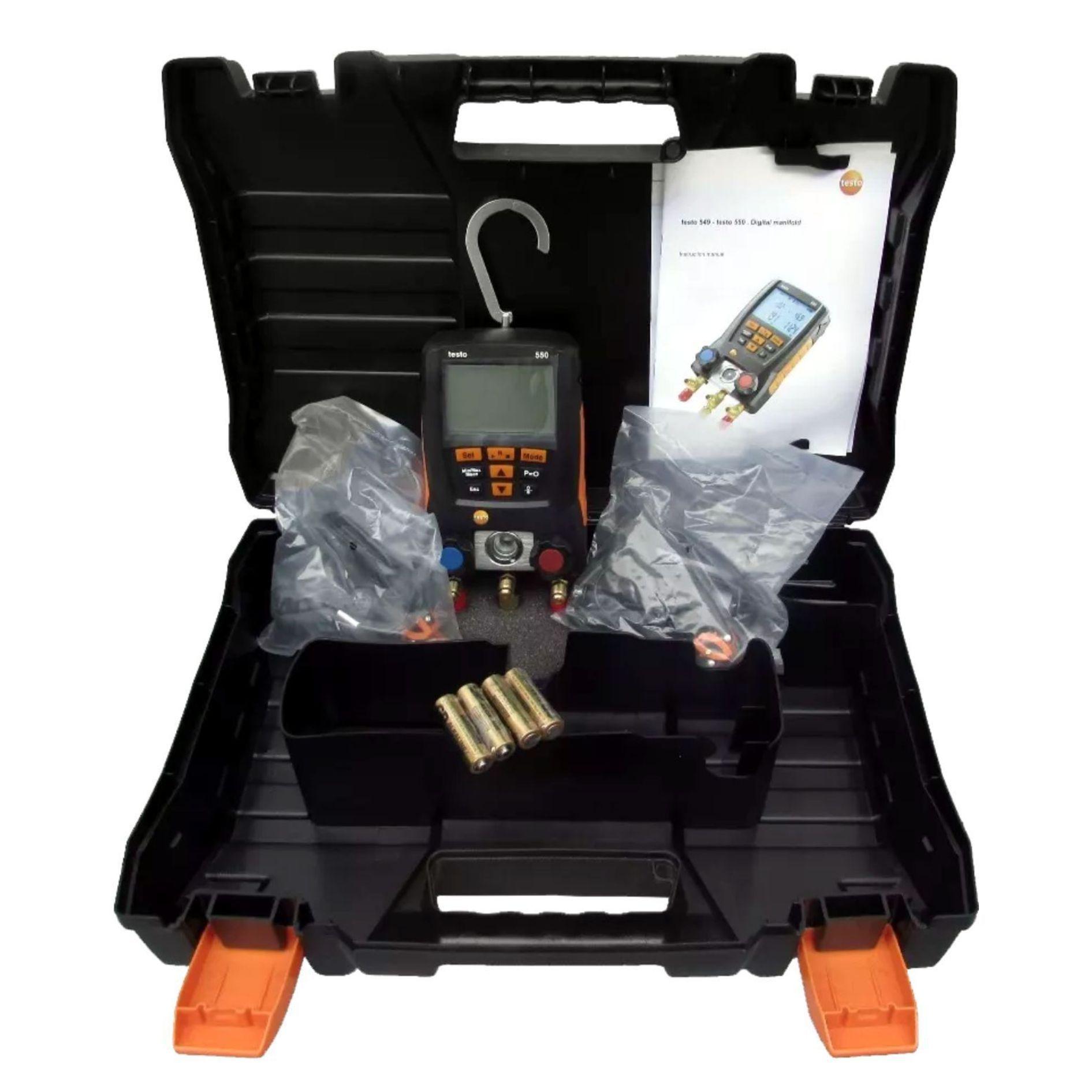 Manifold Digital Testo 550 para Sistemas de Refrigeração com 2 Pinças Termo Par