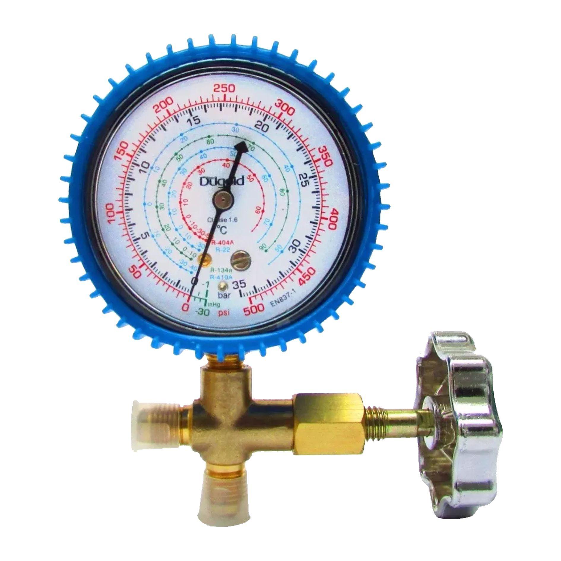 Manômetro de Baixa Simples com Válvula Dugold  R22 / R134a / R410a