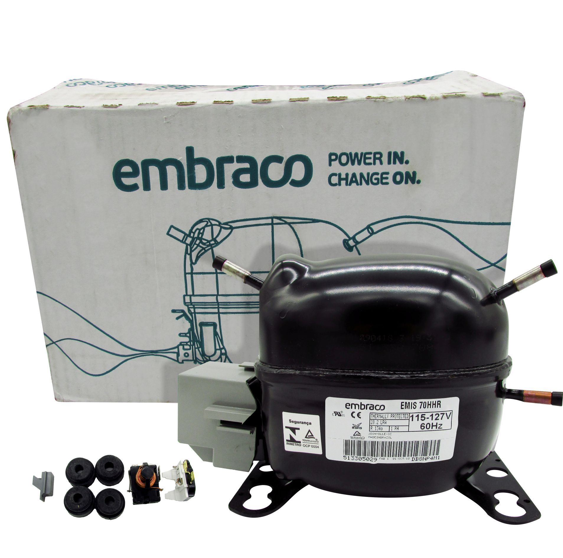 Motor Compressor Embraco 1/5Hp R134a Original EMIS70HHR / EMI70HER