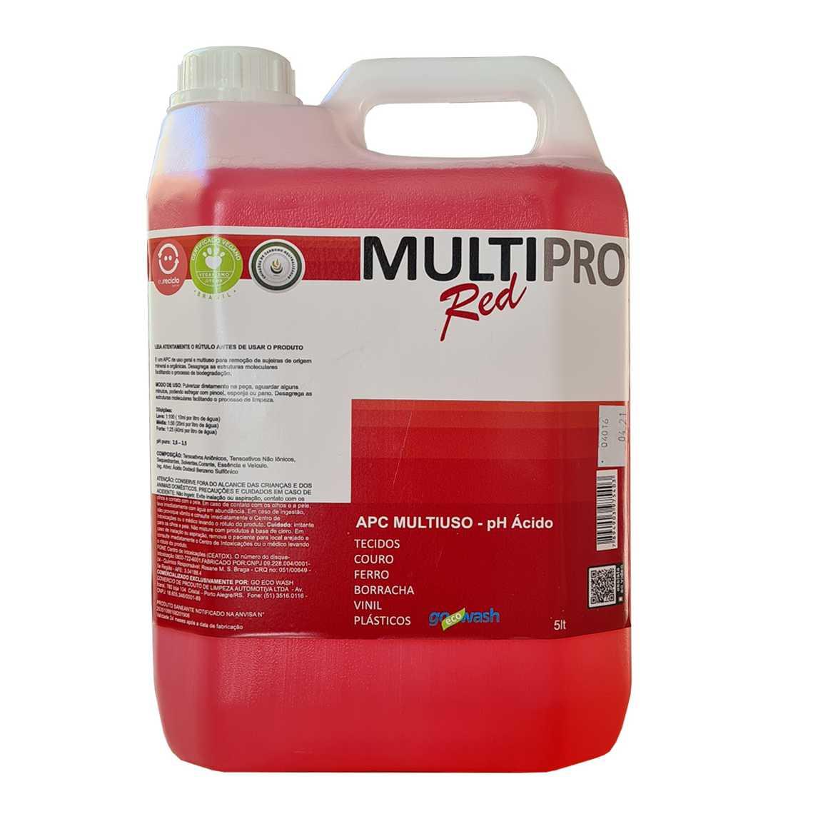 APC MultiPro RED - Limpador Multiuso Ácido 5Lt  (Go Eco Wash)  - Loja Go Eco Wash