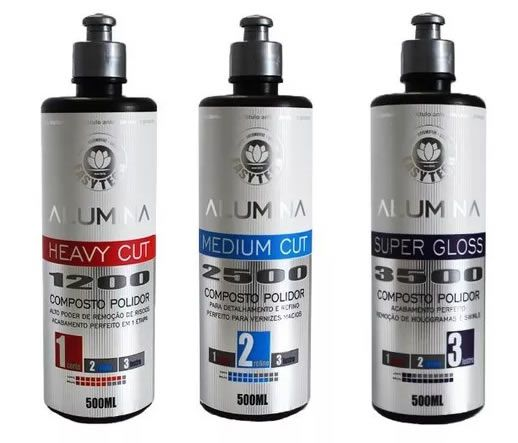 KIT ALUMINA 1200, 2500 e 3500 CORTE, REFINO E LUSTRO 500ML  - Loja Go Eco Wash