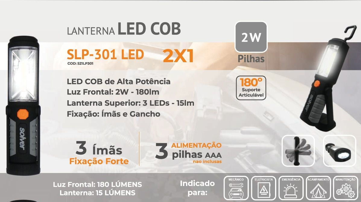 LANTERNA PRO LED COB SLP-301 SOLVER  (PILHA)  - Loja Go Eco Wash