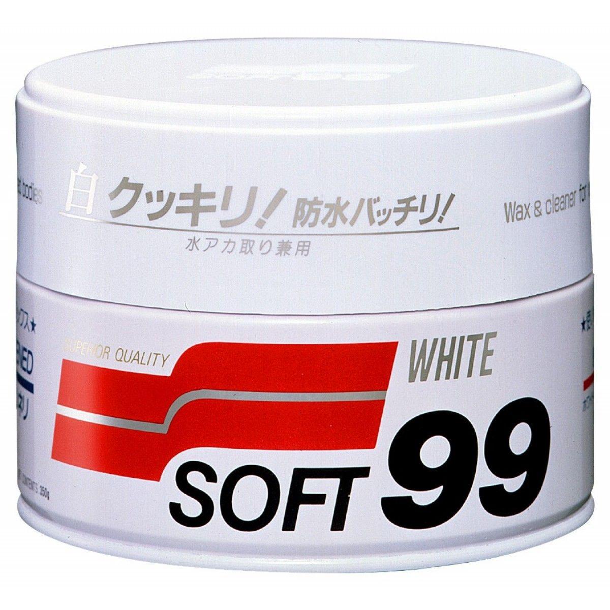 Soft99 White Wax Cleaner - Cera Carnaúba para Carros Brancos - 350g  - Loja Go Eco Wash