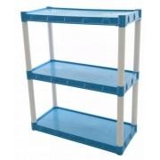 Estante Plástica Grande Azul Com 3 Prateleiras Agraplast