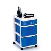 Gaveteiro Plástico Azul 3 Gavetas 2 Grandes e 1 Pequena