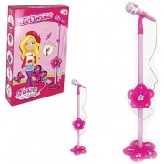 Microfone Infantil C/ Pedestal Glam Girls Conecta com Celular