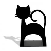 Suporte aparador de livros gato preto