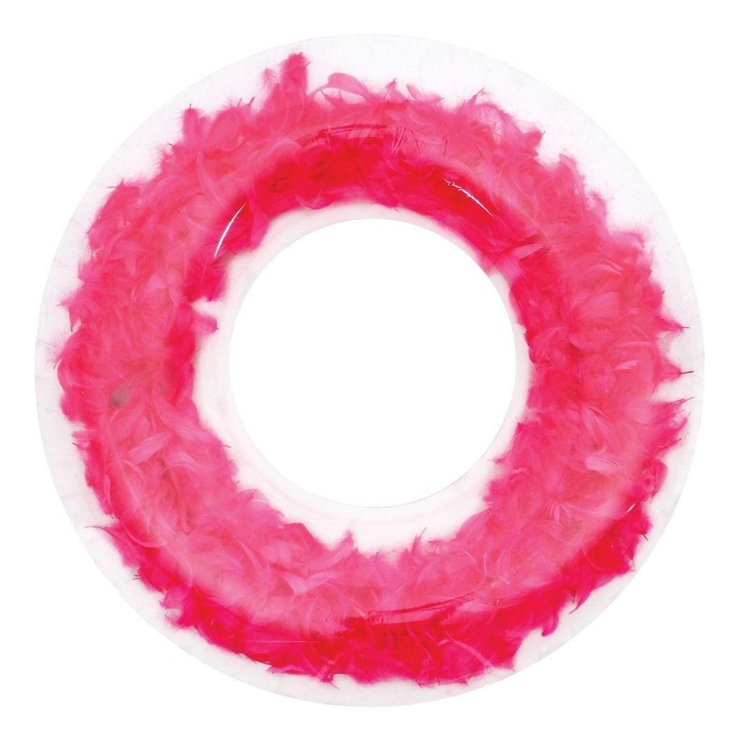 Boia Anel Inflável Anel Transparente C/ Penas Pink e Glitter