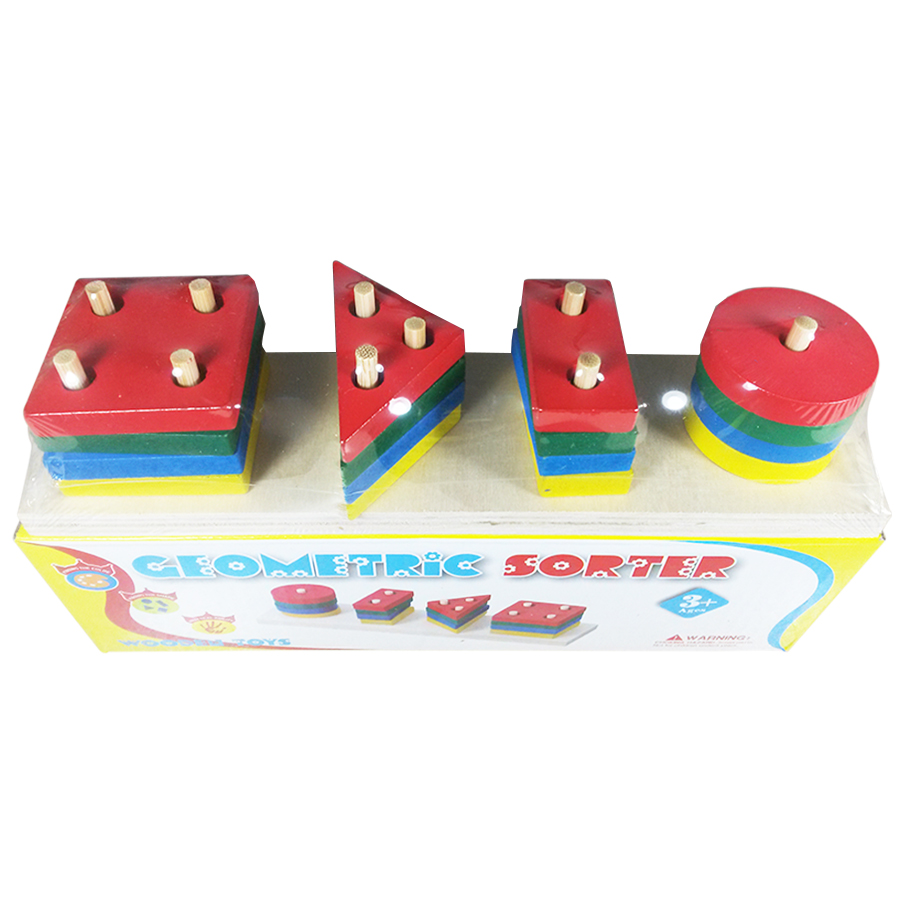 Brinquedo De Madeira Educativo Prancha De Seleção Geometric Sorter