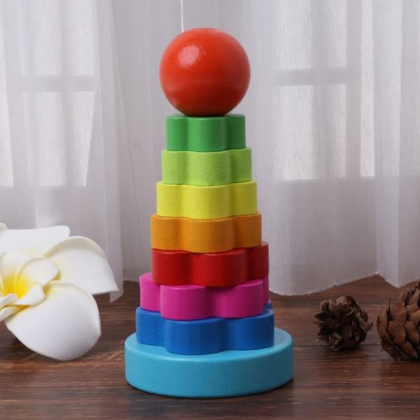 Brinquedo Pedagógico Blocos Empilháveis De Madeira Infantil