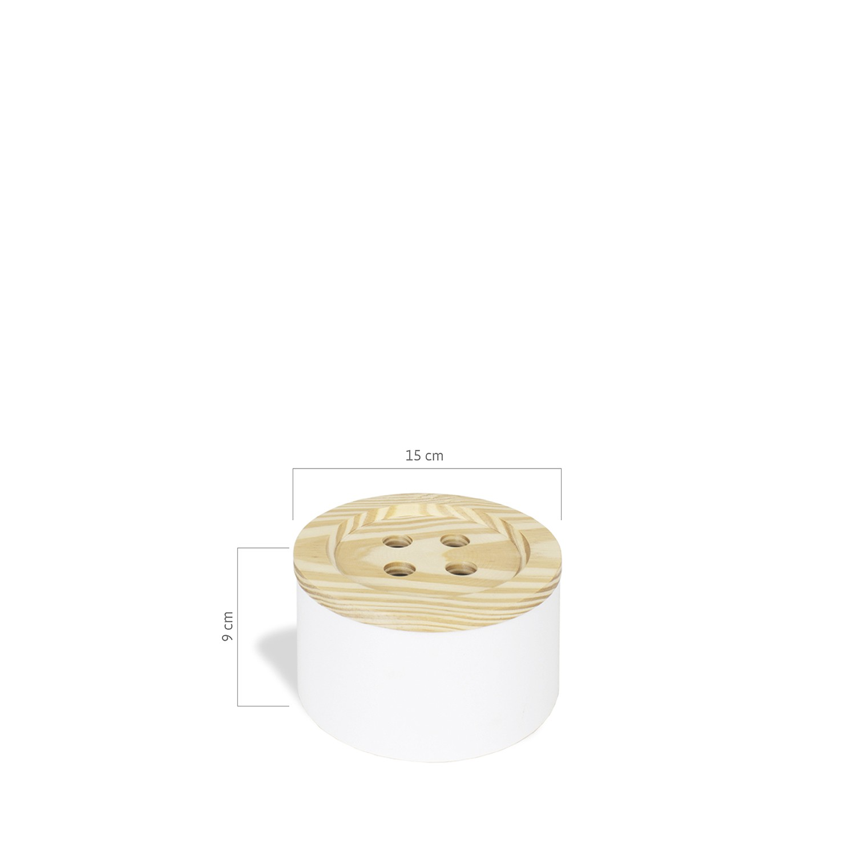 caixa de costura botão pinus branco
