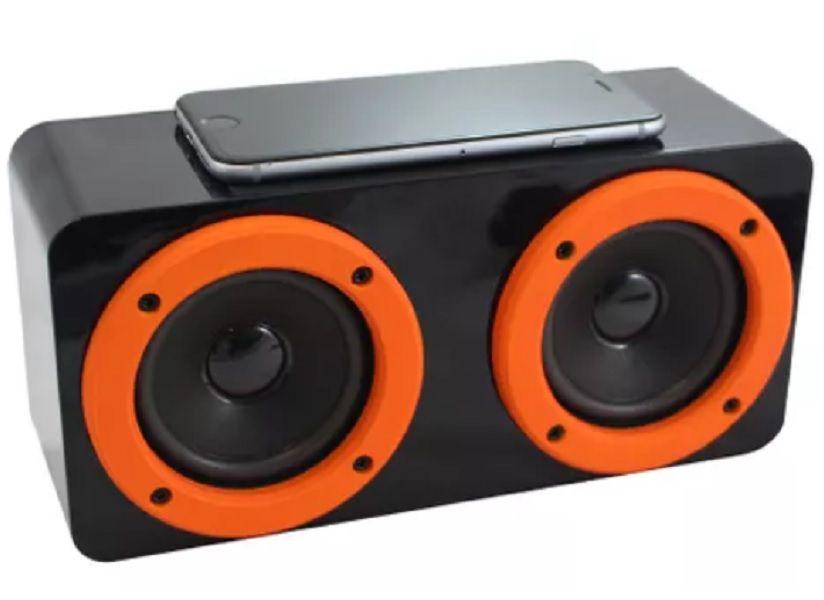 Caixa de Som Speaker Preto com Laranja