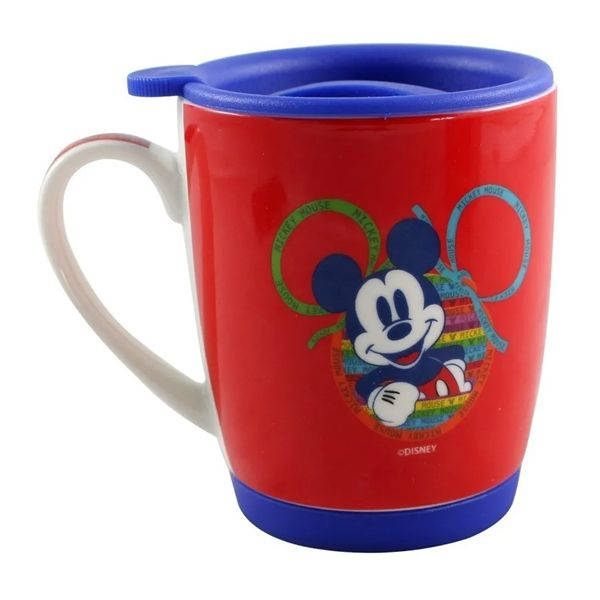 Caneca Com Tampa E Base De Silicone 350ml Mickey 90 Anos
