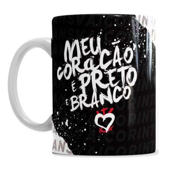 Caneca Corinthians Meu Coração é Preto E Branco