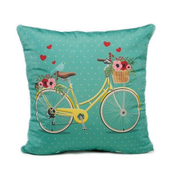 Capa de Almofada 45 x 45 Bike a Vida é Bela