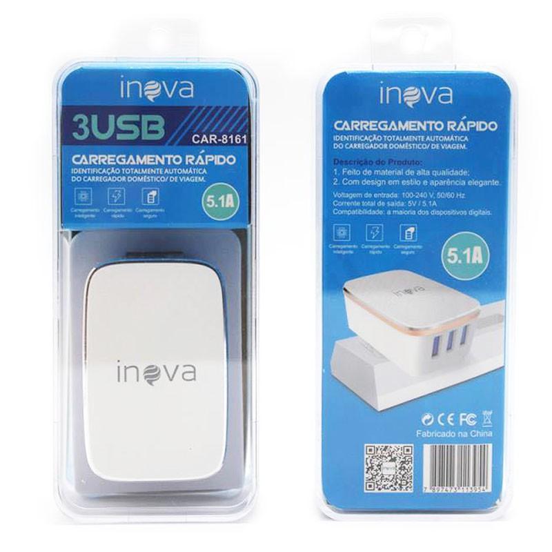 Carregador Rápido 3 Usb ICarregador Rápido 5.1A Com 3 Saídas USB Bivolt Inova