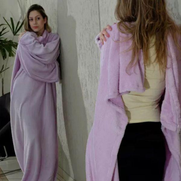 Cobertor com Mangas Lilás