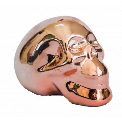 Cofre cerâmica metalizado - caveira rosé