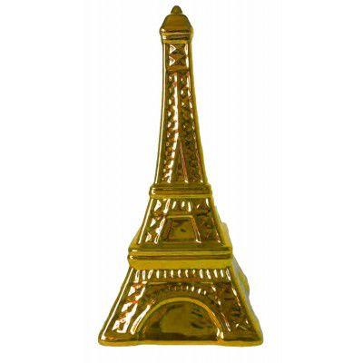 Cofre cerâmica metalizado - torre eiffel dourado
