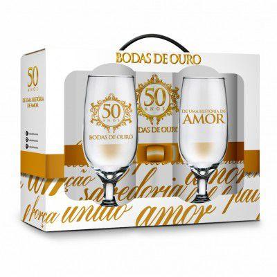 Conjunto 2 taças - datas - bodas de ouro 50 anos