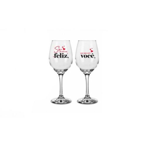 Conjunto 2 Taças De Vinho Eu E Você Pra Sempre 385Ml - Brasfoot