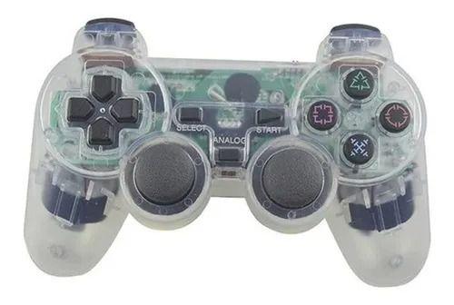 Controle Ps3 Pc Com Vibração Sem Fio Transparente Dualshock