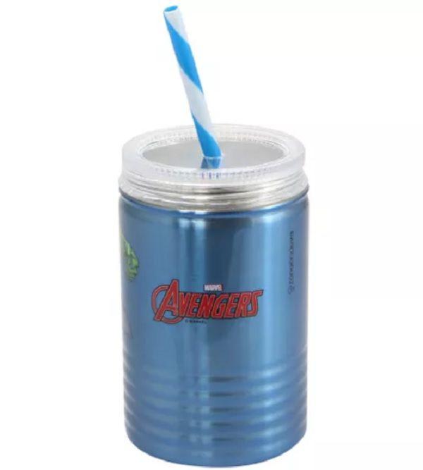 Copo de Metal C/ Canudo Avengers os Vingadores