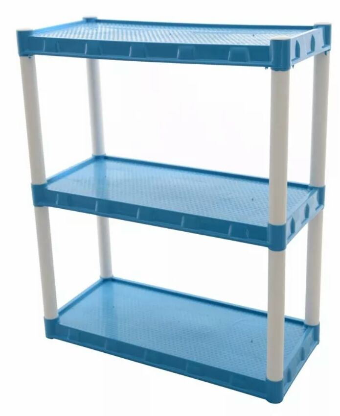 Estante Plástica Modular Azul Com  3 Prateleiras