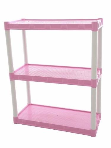 Estante Plástica Rosa Com 3 Prateleiras