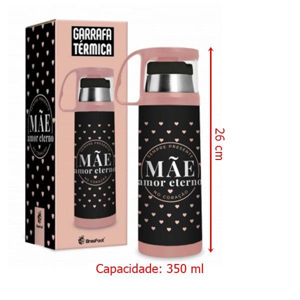Garrafa Térmica 350 ml c/ Caneca P - Mãe no Coração