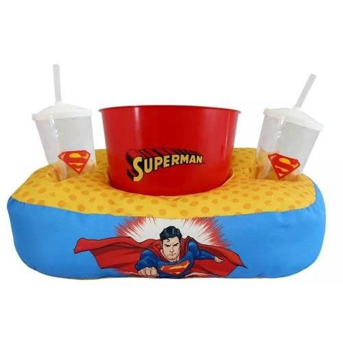 Kit Almofada Porta Pipoca Copos - Superman