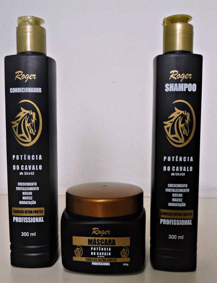 kit Shampoo e Condicionador 300ml e Máscara 250g  Potência do Cavalo BY Roger