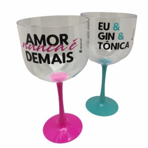 Kit Taça Gin Bicolor - Eu e Gin e Tonica