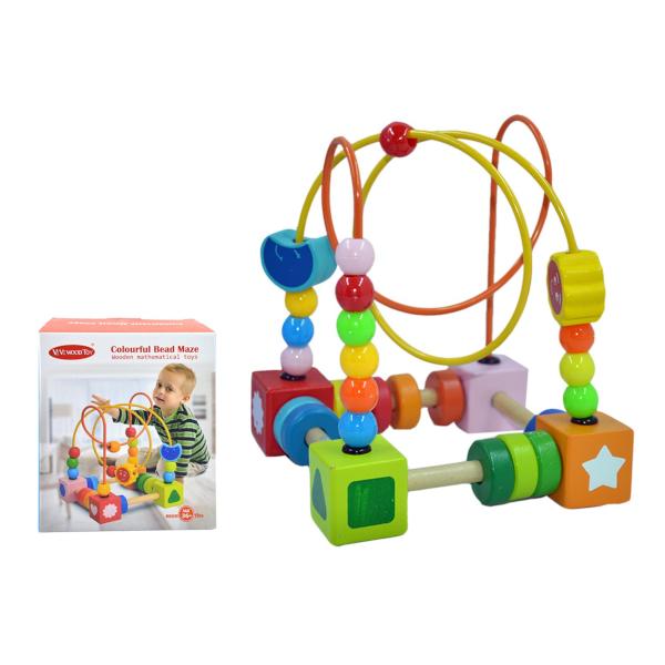 Labirinto Brinquedo De Madeira Bebê Matemática Contando Círculos Bead Maze