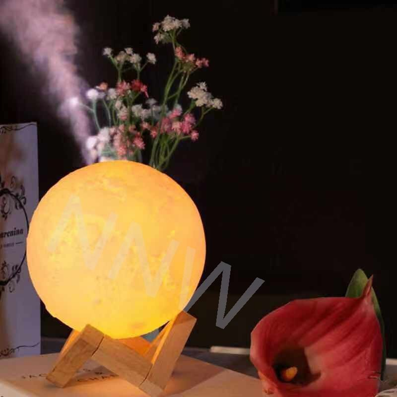 Lâmpada 3d Lua  Recarregável Usb Umidificador De Ar