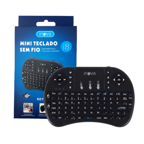 Mini Teclado Portátil Sem Fio Luminoso Recarregável Inova i8 KEY-7189