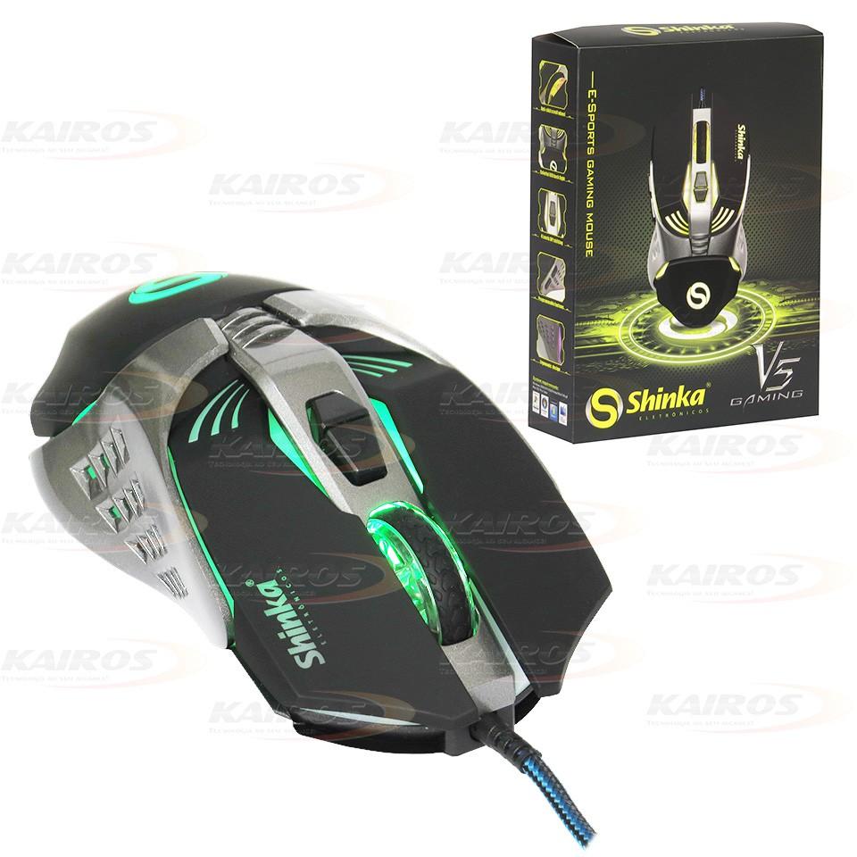 Mouse Gamer Optico Usb Led 4000dpi V5 Shinka 7 Botões