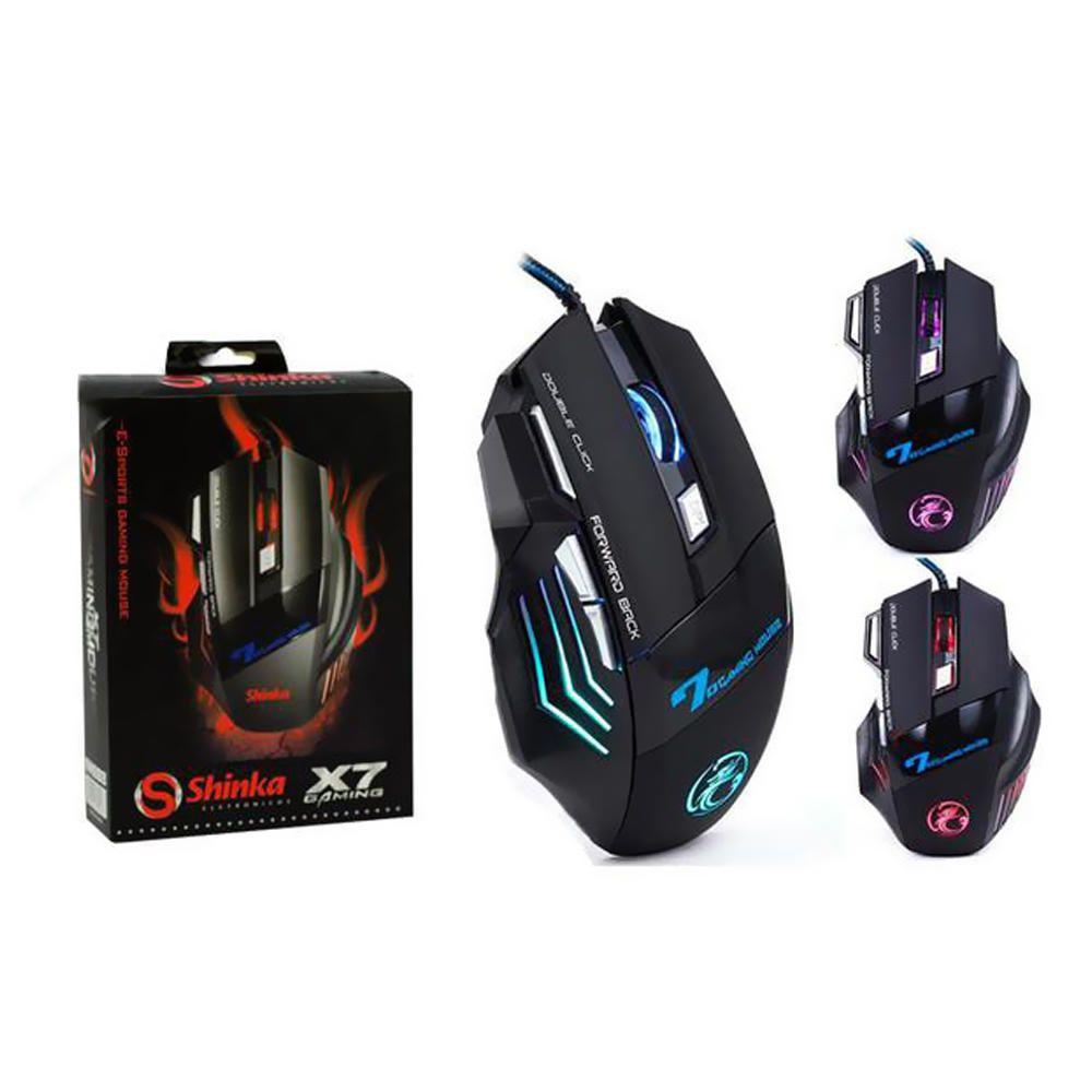 Mouse Gamer X7 Gaming 2400dpi Ergonomic Red Blue Shinka