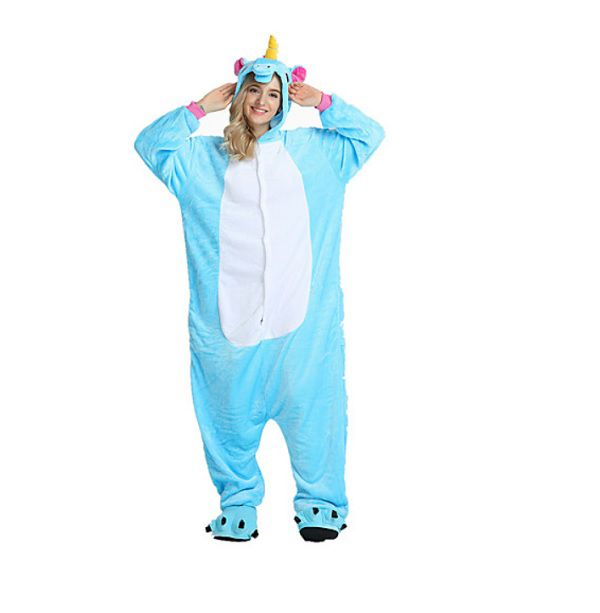 Pijama Macacão de Unicórnio Adulto Azul