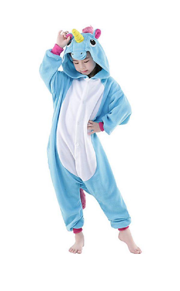 Pijama Macacão de Unicórnio Infantil Azul
